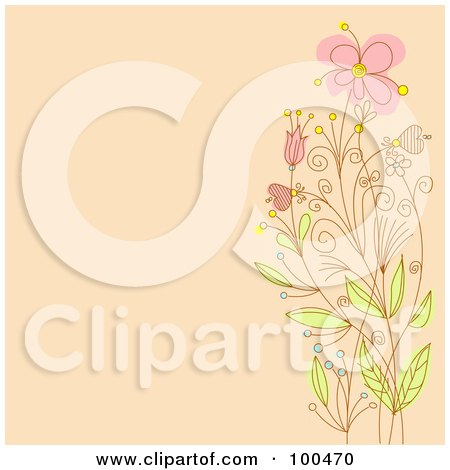 Royalty-Free (RF) Clipart Illustration of a Pastel Orange Background With A Border Of Pink Flowers On Tall Stems by Pushkin