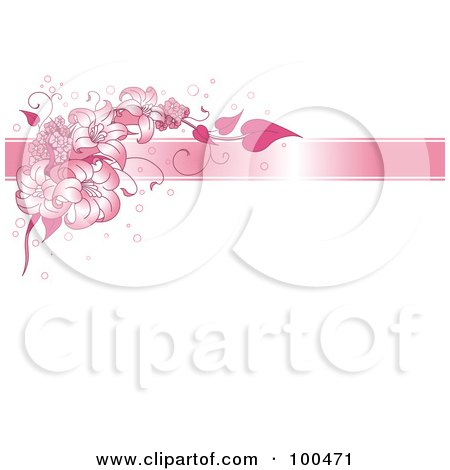 Royalty-Free (RF) Clipart Illustration of a White Background With Bubbles, A Pink Ribbon And Pink Lilies by Pushkin