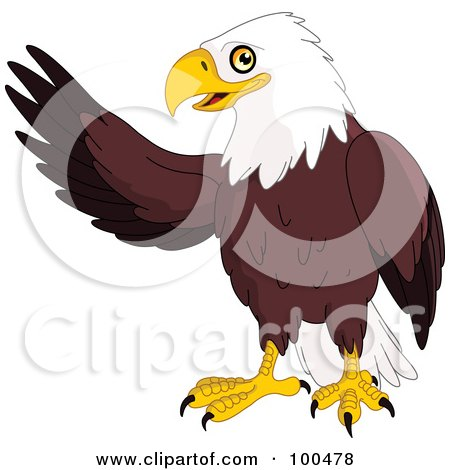 Royalty-Free (RF) Clipart Illustration of a Friendly Bald Eagle Waving With One Wing by yayayoyo