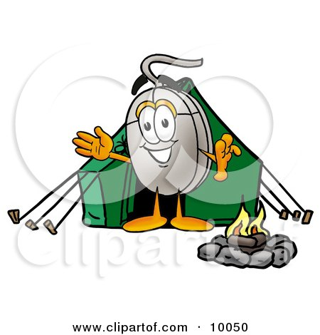 Computer Mouse Mascot Cartoon Character Camping With a Tent and Fire Posters, Art Prints