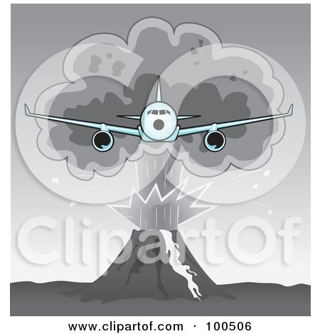 Royalty-Free (RF) Clipart Illustration of a Commercial Airplane Flying Away From A Plume Of Volcanic Ash by Paulo Resende