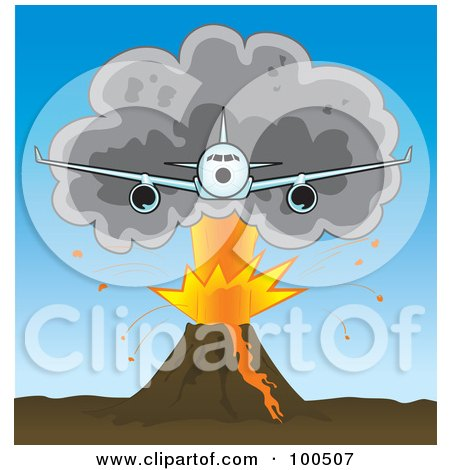 Royalty-Free (RF) Clipart Illustration of a Commercial Airliner Flying Away From A Plume Of Ash Over A Volcano by Paulo Resende
