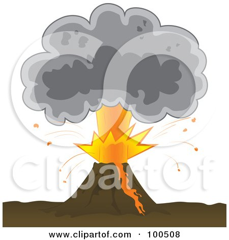 Royalty-Free (RF) Clipart Illustration of a Bursting Volcano With An Ash Cloud by Paulo Resende