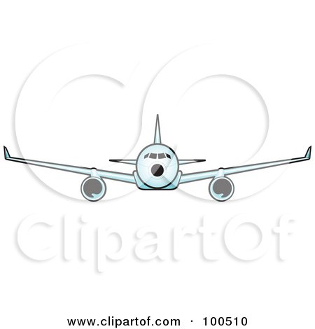 Royalty-Free (RF) Clipart Illustration of a Commercial Airplane Flying Forward by Paulo Resende