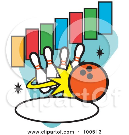 Royalty-Free (RF) Clipart Illustration of an Orange Bowling Ball Knocking Over Pins, With Text Rectangles And An Oval by Andy Nortnik