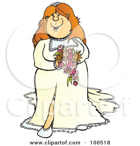 Royalty-Free (RF) Clipart Illustration of a Happy Strawberry Blond Bride In Her Dress, Holding Her Bouquet by Snowy