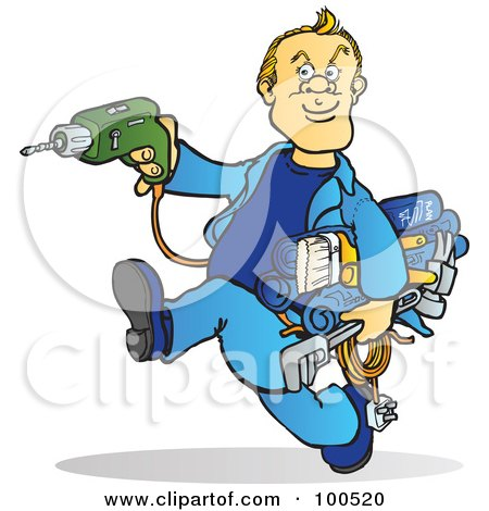 Royalty-Free (RF) Clipart Illustration of a Blond Handy Man Running With Tools In His Hands by Snowy