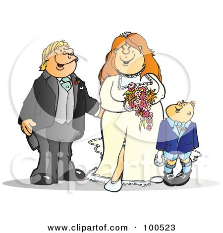 Royalty-Free (RF) Clipart Illustration of a Happy Bride And Groom With A Page Boy by Snowy