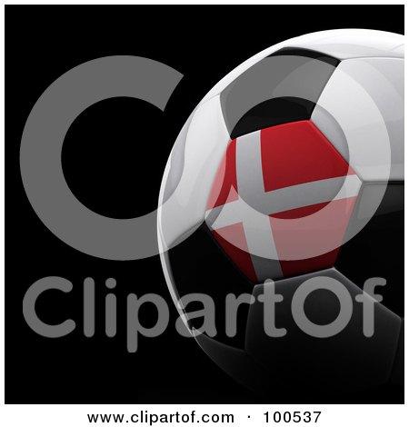 Royalty-Free (RF) Clipart Illustration of a Shiny 3d Denmark Flag Soccer Ball Over Black by stockillustrations