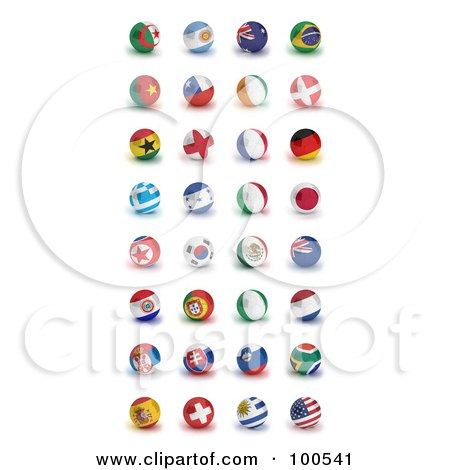 Royalty-Free (RF) Clipart Illustration of a Digital Collage Of Patriotic Orbs Of The Soccer World Cup 2010 Participating Countries by stockillustrations