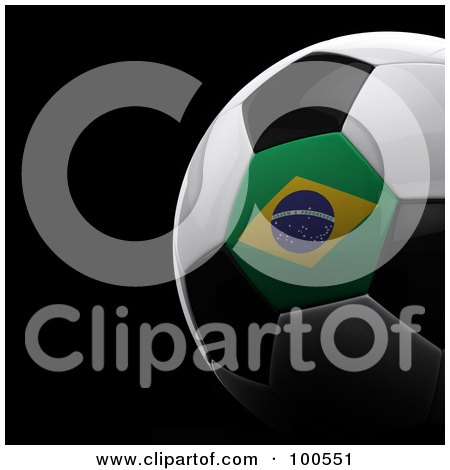 Royalty-Free (RF) Clipart Illustration of a Shiny 3d Brazilian Flag Soccer Ball Over Black by stockillustrations