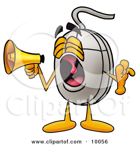 Clipart Picture of a Computer Mouse Mascot Cartoon Character Screaming Into a Megaphone by Toons4Biz