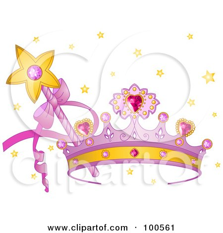 Royalty-Free (RF) Clipart Illustration of a Purple Princess Crown With Pink Heart Gems, A Wand And Stars by Pushkin