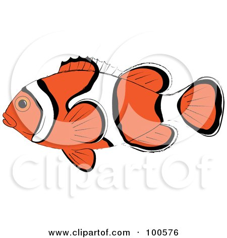 Royalty-Free (RF) Clipart Illustration of a Profiled Orange, White And Black Clown Fish by Pams Clipart