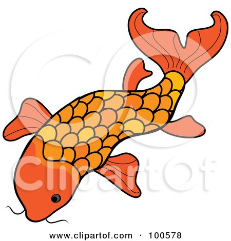 Royalty-Free (RF) Clipart Illustration of an Orange Swimming Koi Fish by Pams Clipart
