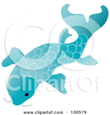 Royalty-Free (RF) Clipart Illustration of a Blue Koi Fish Swimming by Pams Clipart