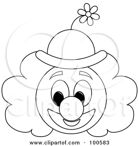 Coloring Page Outline Of A Clown Face With A Floral Hat
