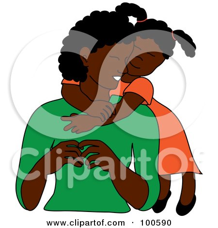 Royalty-Free (RF) Clipart Illustration of a Loving Black Daughter Hugging Her Mom From Behind by Pams Clipart