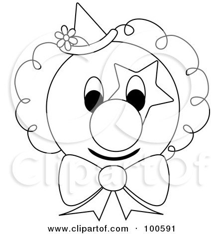 Coloring Page Outline Of A Clown Face With Star Makeup A Bow Tie