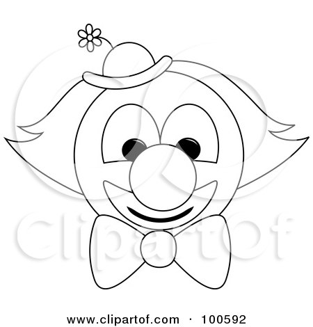 Royalty-Free (RF) Clipart Illustration of a Coloring Page Outline Of A Clown Face With A Bow Tie And Hat by Pams Clipart