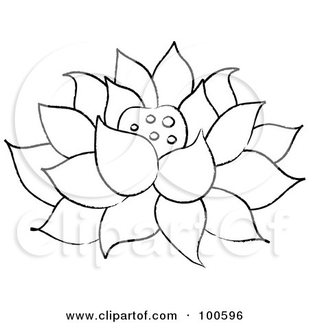 RoyaltyFree RF Clipart Illustration of a Coloring Page Outline Of A Lotus