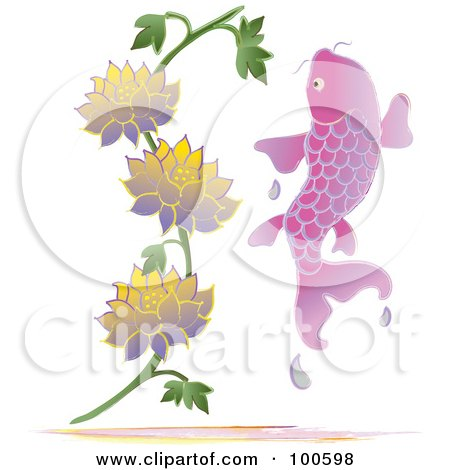 Royalty-Free (RF) Clipart Illustration of a Pink Koi Fish Leaping Near Lotus Flowers by Pams Clipart