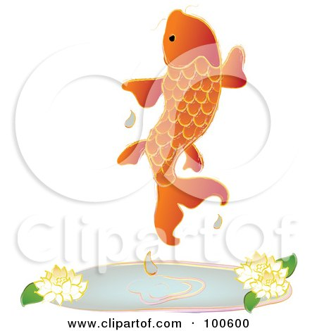 Royalty-Free (RF) Clipart Illustration of an Orange Koi Fish Leaping Out Of A Pond by Pams Clipart
