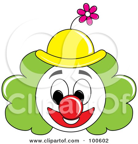 Royalty-Free (RF) Clipart Illustration of a Grinning Clown Face With Green Hair And A Yellow Hat by Pams Clipart