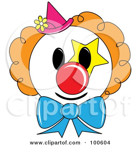 Clown Face With Orange Hair And A Pink Hat Posters, Art Prints