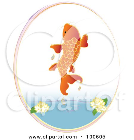 Royalty-Free (RF) Clipart Illustration of an Orange Koi Fish Jumping Out Of A Pond by Pams Clipart