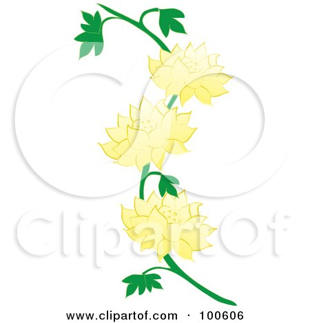 Royalty Free RF Clipart Illustration Of A Lotus Vine With Yellow Flowers