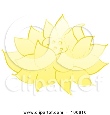 Royalty-Free (RF) Clipart Illustration of a Yellow Lotus Flower Fully Bloomed by Pams Clipart