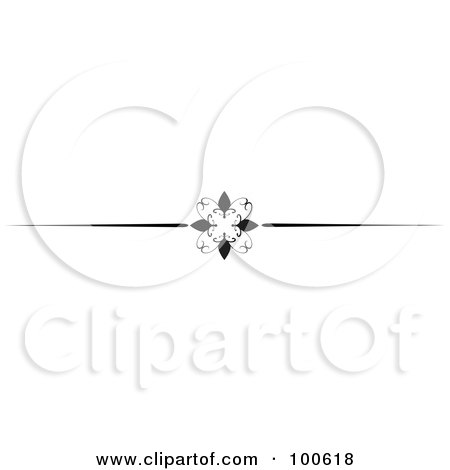 Royalty-Free (RF) Clipart Illustration of a Black And White Decorative Header Rule With A Floral Design by KJ Pargeter