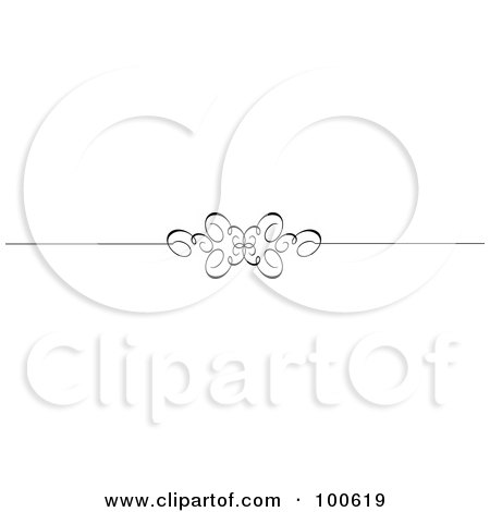 Royalty-Free (RF) Clipart Illustration of a Black And White Decorative Header Rule With A Butterfly Swirl by KJ Pargeter