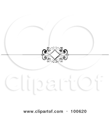 Royalty-Free (RF) Clipart Illustration of a Black And White Decorative Header Rule With A Diamond by KJ Pargeter