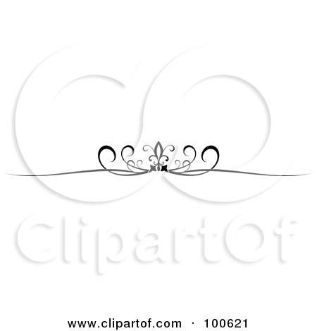 Royalty-Free (RF) Clipart Illustration of a Black And White Decorative Header Rule With Swirls by KJ Pargeter