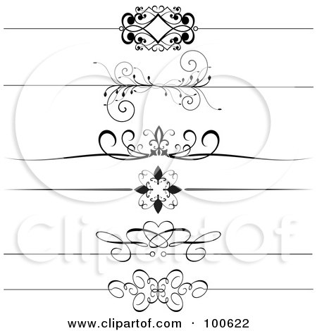 Royalty-Free (RF) Clipart Illustration of a Digital Collage Of Black And White Decorative Header Rules by KJ Pargeter