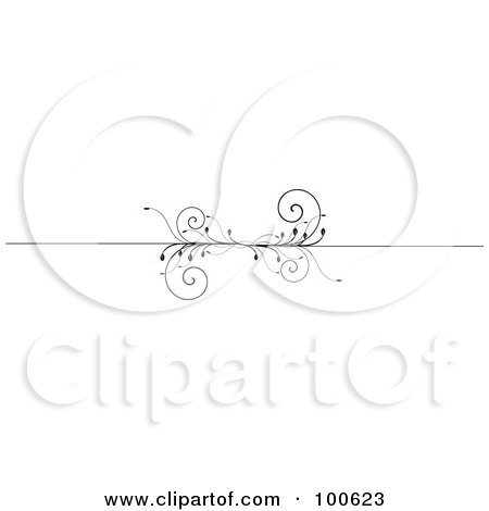 Royalty-Free (RF) Clipart Illustration of a Black And White Decorative Header Rule With Vines by KJ Pargeter