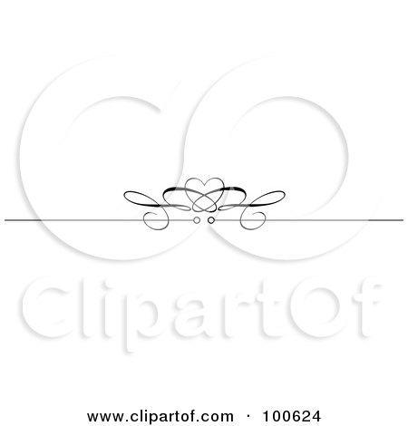 Royalty-Free (RF) Clipart Illustration of a Black And White Decorative Header Rule With A Heart by KJ Pargeter