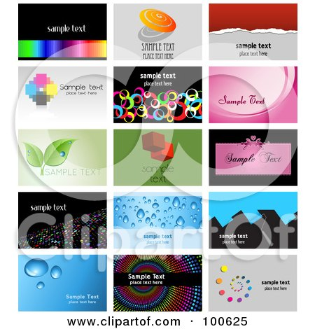 Royalty-Free (RF) Clipart Illustration of a Digital Collage Of 15 Business Card Template Designs by KJ Pargeter