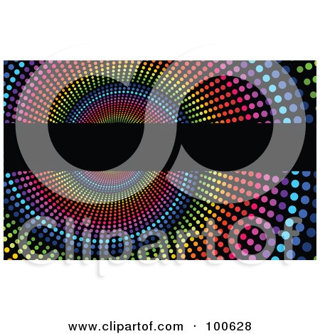 Rainbow Halftone Spiral Business Card Template Or Website Background With Black Copyspace Posters, Art Prints
