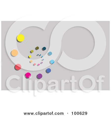 Royalty-Free (RF) Clipart Illustration of a Rainbow Spiral Of Dots Business Card Template Or Website Background With Gray Copyspace by KJ Pargeter