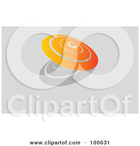 Royalty-Free (RF) Clipart Illustration of an Orange Spiral And Shadow Business Card Template Or Website Background With Gray Copyspace by KJ Pargeter
