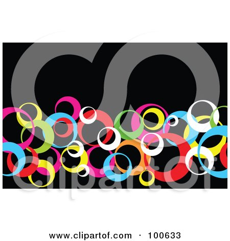 Royalty-Free (RF) Clipart Illustration of a Colorful Circle Business Card Template Or Website Background With Black Copyspace by KJ Pargeter