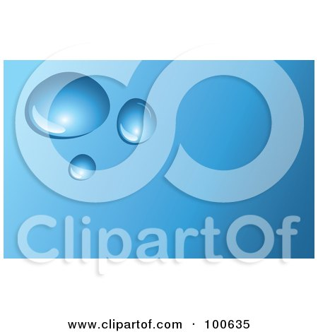 Waterdrop Business Card Template Or Website Background With Blue Copyspace Posters, Art Prints