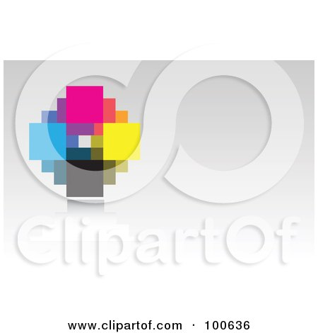 Royalty-Free (RF) Clipart Illustration of an Abstract CMYK Pixel Business Card Template Or Website Background With Gray Copyspace by KJ Pargeter