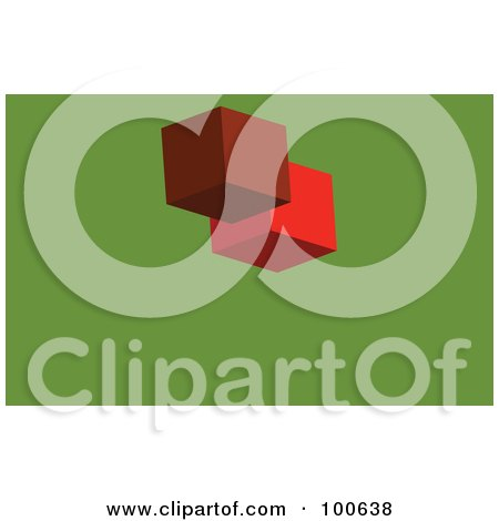 Royalty-Free (RF) Clipart Illustration of a Red Block Business Card Template Or Website Background With Green Copyspace by KJ Pargeter