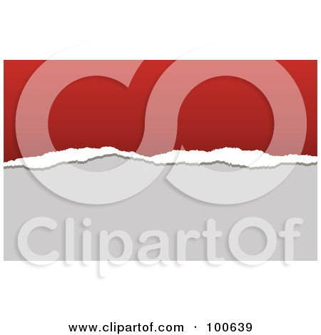 Royalty-Free (RF) Clipart Illustration of a Torn Paper Business Card Template Or Website Background With Red And Gray Copyspace by KJ Pargeter