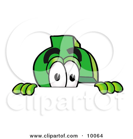 Clipart Picture of a Dollar Sign Mascot Cartoon Character Peeking Over a Surface by Toons4Biz