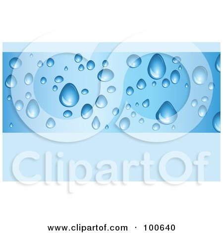 Royalty-Free (RF) Clipart Illustration of a Water Drop Business Card Template Or Website Background With Blue Copyspace by KJ Pargeter